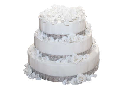 tiered: Three tiered wedding cake isolated on white