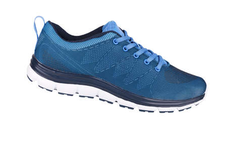 Blue sneaker isolated on white photo