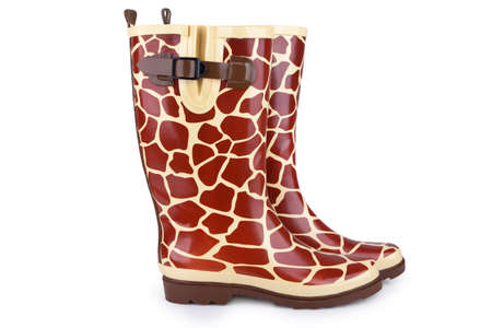 welly: Gumboots with giraffe pattern isolated on white with shadow