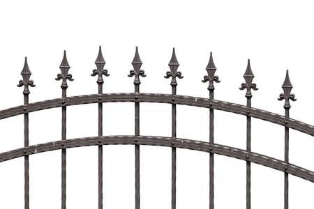 puertas de hierro: Cerca vieja pico de moda aislado en blanco Foto de archivo