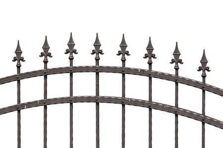 picket fence: Old fashioned spike fence isolated on white