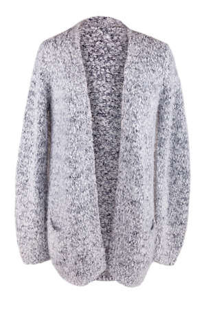 Warm fuzzy cardigan with pockets, isolated on white