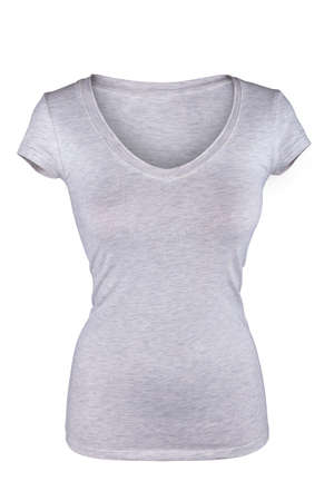 tight body: Blank gray female t-shirt isolated on white Stock Photo