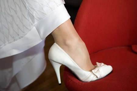 nylons: Brides leg with the shoe Stock Photo