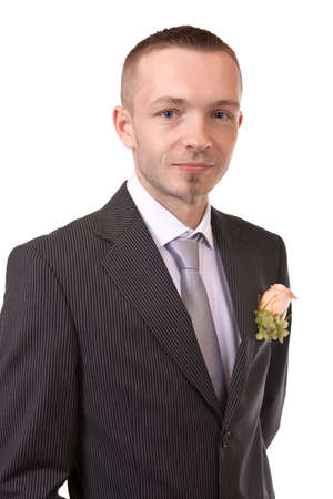 Portrait of a groom, isolated on white