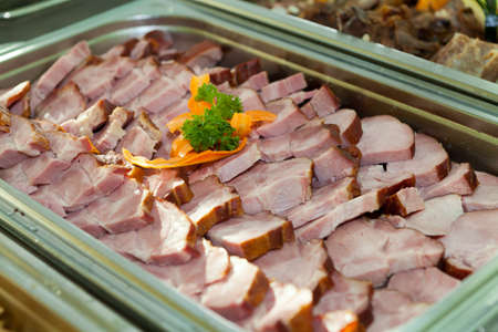 heated: Cooked ham served in a heated tray