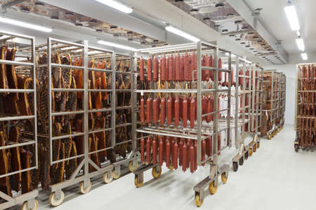 carcass meat: Fresh traditional sausages ready for drying in a smokehouse of a  meat processing industry