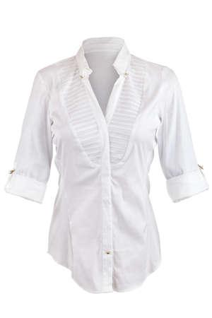 CAMISAS: Camisa blanca con mangas enrolladas aisladas sobre fondo blanco