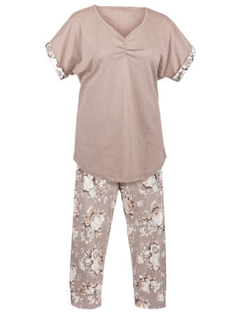 Ladie`s pajamas with floral print, isolated on white Stock Photo