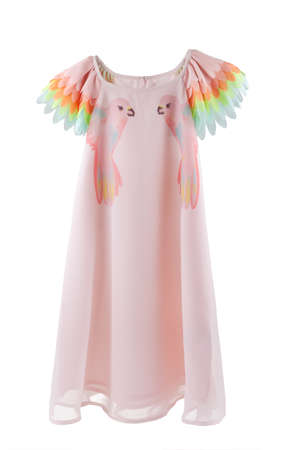 Chiffon dress with parrots print and colorful wings for sleeves, clothes for children, pink dress for little girls isolated on white background