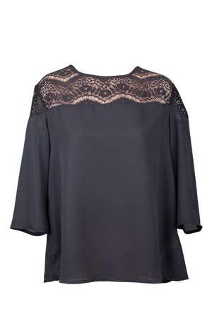 Black lace blouse, isolated on white background