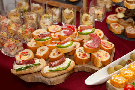 Catering food, colorful canapes beautifully decorated