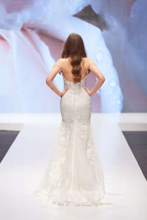 Bride walking away in a wedding dress Stock Photo