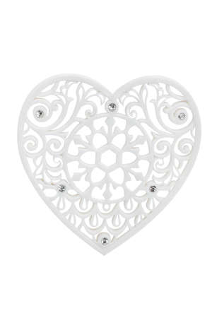 Lace heart isolated on white Stock Photo