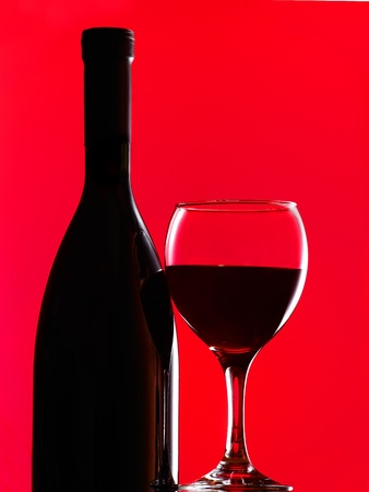 syrah: bottle with a wineglass  Stock Photo