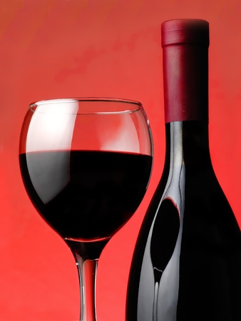 bottle with a wineglass  Stock Photo