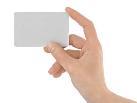 hand holding card: Credit card female hand holding