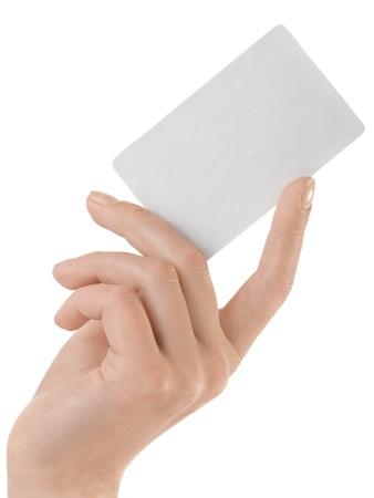 Carte de crédit main tenue féminine