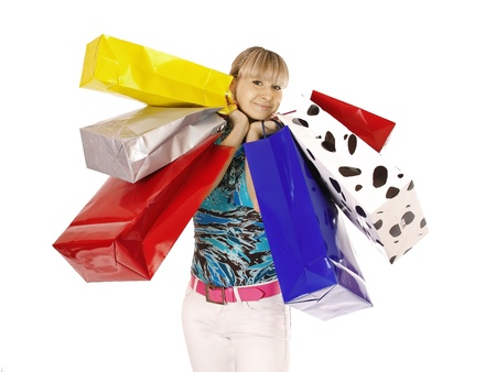 Beautiful shopping woman happy holding shopping bags