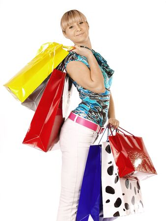 Beautiful woman with shopping bags and gift boxes  Stock Photo