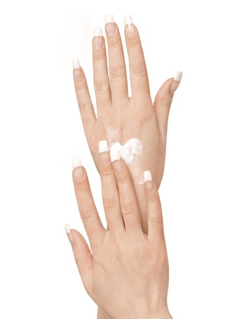 Gesturing of woman hand  Skin-care  Female arms photo