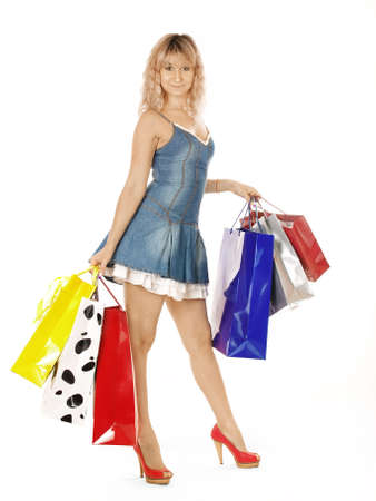 happy young woman with shopping bags Stock Photo