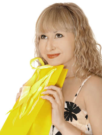 lovely woman with shopping bags over white Stock Photo - 13912339