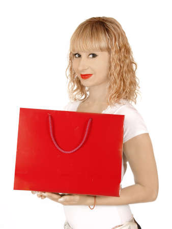 portrait young adult girl with colored bags Stock Photo - 13912315