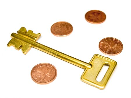 Key with EURO and coins. Low DOF