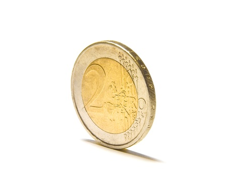 Two euro coin in front of a white backgroundisolated