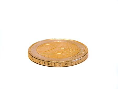 Two euro coin in front of a white backgroundisolated photo