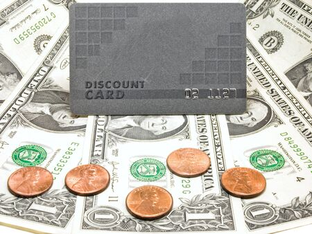 Discount card and us dollar, concept of finance