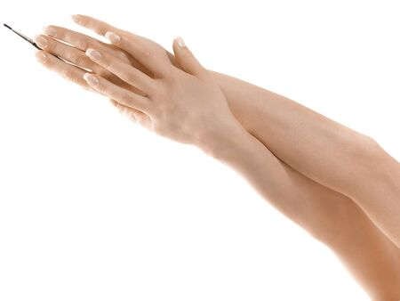 Gesturing of woman hand  Skin-care  Female arms Stock Photo