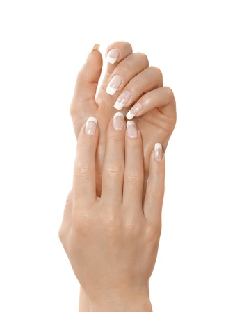 french manicure: Gesturing of woman hand  Skin-care  Female arms Stock Photo