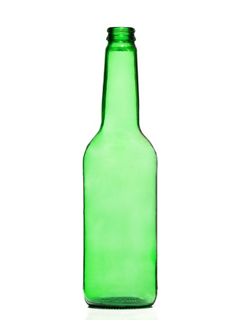 Green And Glass Bottle Isolated On A White Background Stock Photo