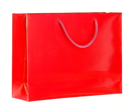white paper bag: Red Shopping Bag. Clean cover . Isolated on white