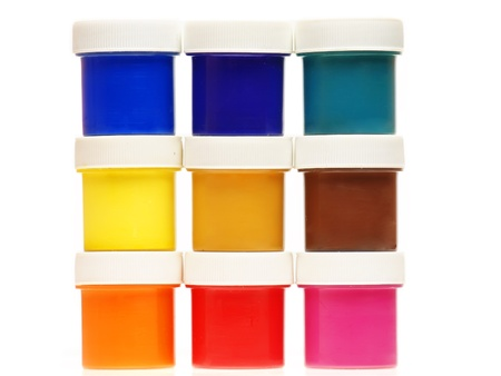 Multi-colored gouache paint isolated on a white background Stock Photo
