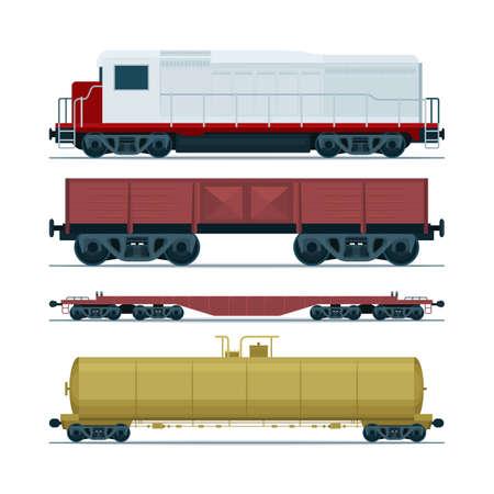 Pociąg wagonów towarowych. Transport kolejowy. Lokomotywa spalinowa, cysterna kolejowa i platforma o dużej ładowności. Zestaw części SF.