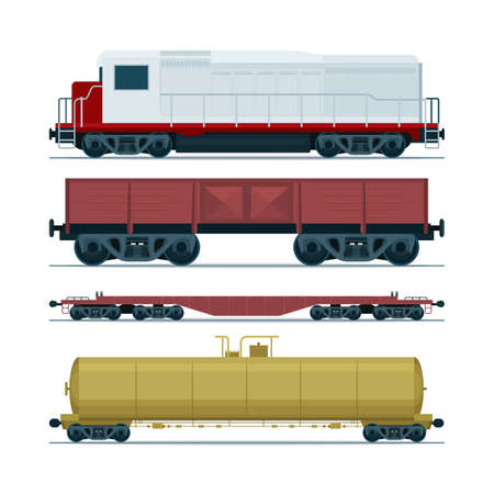Vagones de carga de tren. Transporte ferroviario. Locomotora diesel, vagón cisterna de ferrocarril y vagón plano de servicio pesado. Pieza sf set.