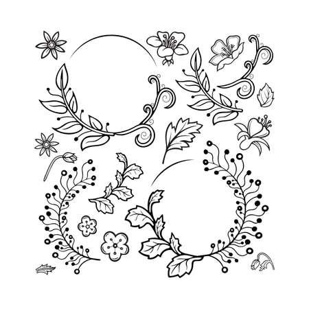 Hand drawn flowers and plants collection. Sketch drawing floral design elements. Flower ornament constructor. Part of set.