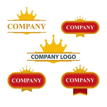 Crown logo. Company luxury logotype design templates set.