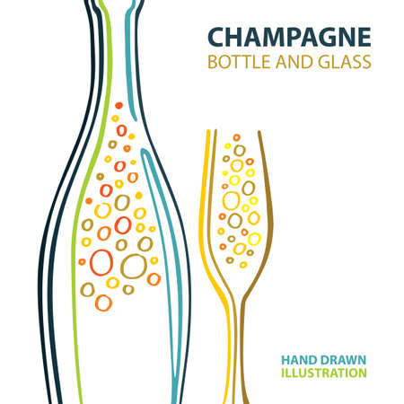 Champagne. Champagne and glass stylized vector illustration. Sparkling champagne bottle and glass hand drawing abstract design.