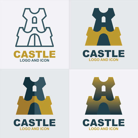 Castle logo. Castle vector illustrations set. Different style castle icons.