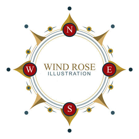 Compass Wind Rose. Compass style frame illustration.