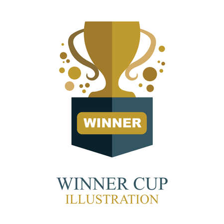 Winner cup. Golden winner cup illustration with ribbon. Trophy cup flat icon. 免版税图像 - 150944725