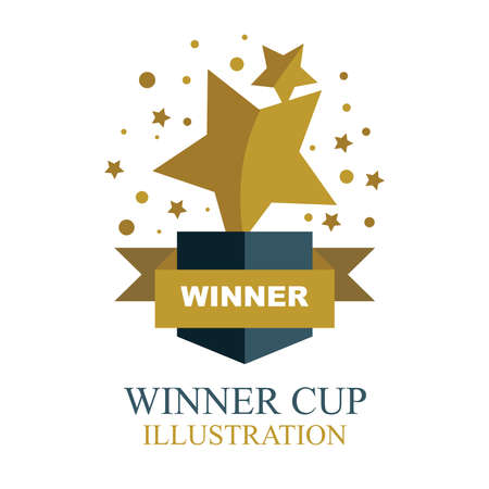 Winner cup. Star shaped gold winner cup illustration with ribbon. Trophy cup flat icon. 일러스트