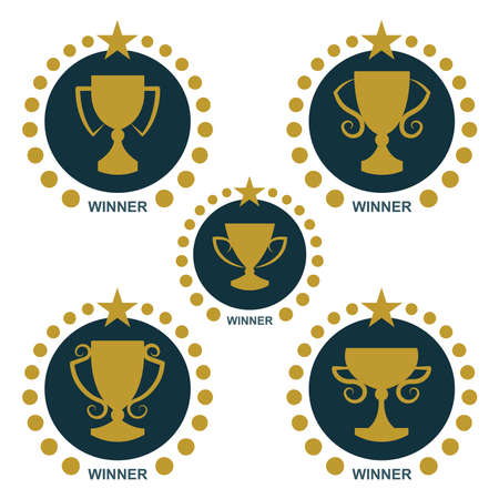 Winner cup. Golden winner cup illustrations set. Trophy cup flat icons set.