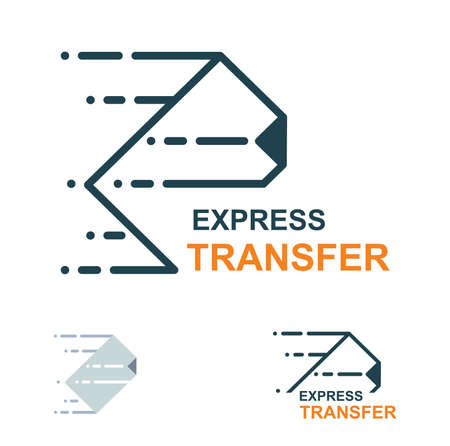 Document transfer. File express transfer flat icon. Fast delivery vector illustration.