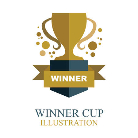 Winner cup. Golden winner cup illustration with ribbon. Trophy cup flat icon.