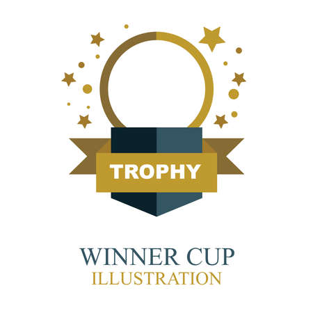 Winner cup. Gold winner cup illustration with ribbon. Trophy cup flat icon.